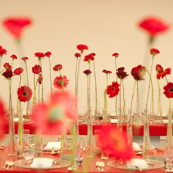 Simon Lycett, red carnation and gerbera daisy centerpiece http://www.simonlycett.co.uk/gallery2/parties/