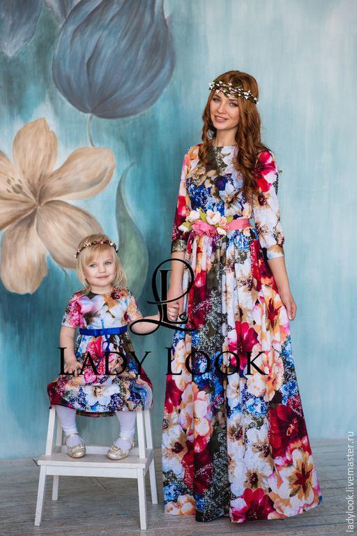 Купить Комплект Family Look № 20 - синий, цветочный, платье летнее, мама и дочка