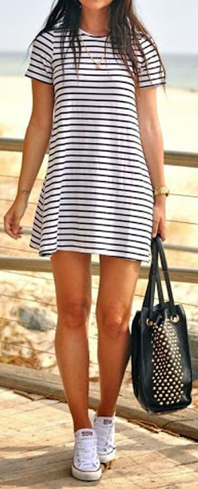 Comfy Cute Stripe Dress ❤︎ I love how easy this outfit is. #nautical #converse #navy