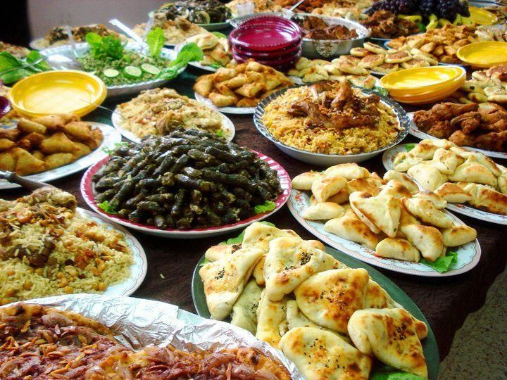 Different kinds of traditional meals from the Palestinian cuisine