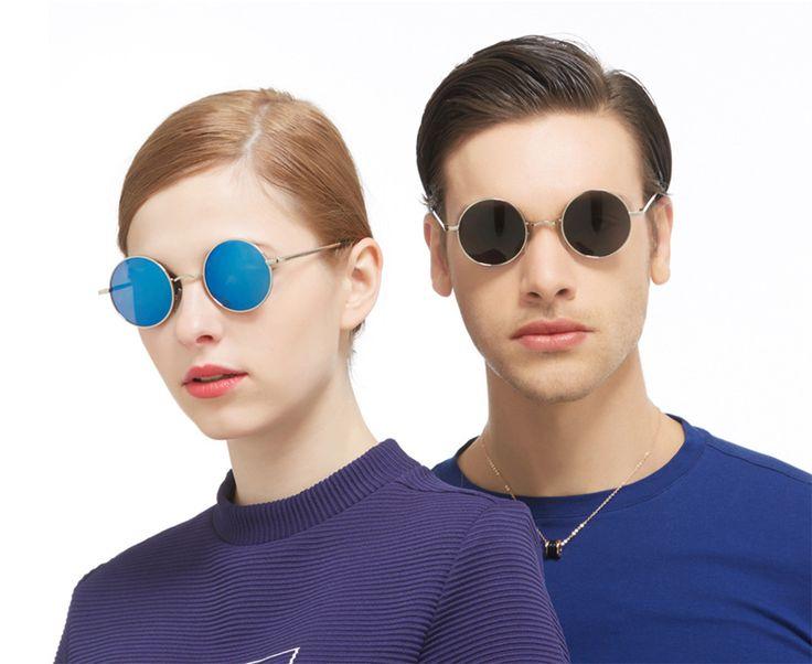 UVカット 偏光メタル丸型サングラス 小さめレンズ メガネ メンズ レディース