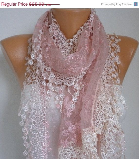 ON SALE Dusty Pink Lace Scarf