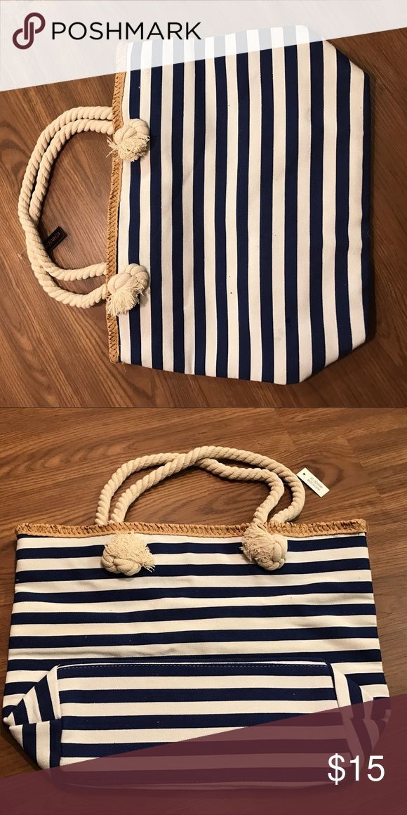 Striped Tote Canvas Royal Blue and White Tote Bags Totes