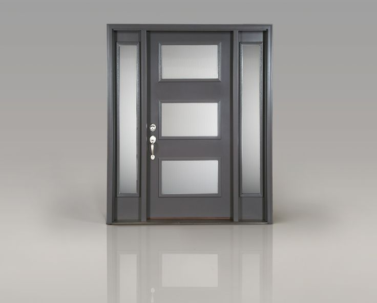 "Create a modern entrance with Clopay's smooth fiberglass front door. ""Reed"" decorative glass and sidelights let daylight in without compromising privacy. Paint color: SW Peppercorn. www.clopaydoor.com"