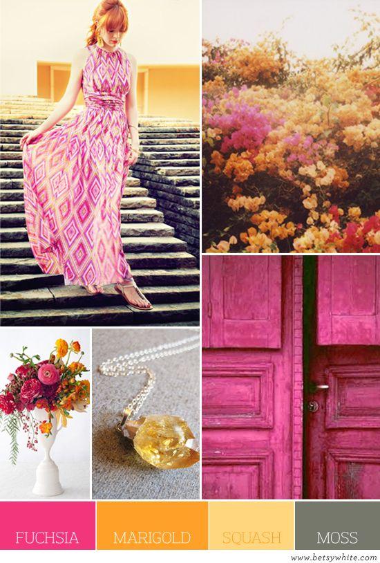 Fuchsia Marigold Squash Moss: Colors Combos, Spring Colors, Pretty Colors, Colors Palettes, Fuchsia Marigold Squash Moss, Colors Schemes, Colour Palettes, Doors Colors, Bright Colors