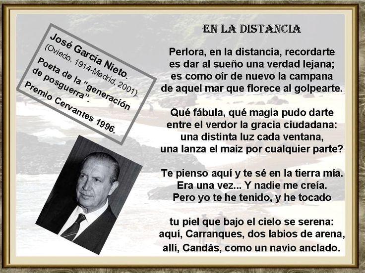 José García Nieto (Oviedo, 6 de julio de 1914 - Madrid, 27 de febrero de 2001). En 1996 obtiene el Premio Cervantes de Literatura. Además de su dedicación a la poesía, García Nieto hace incursiones en otros géneros literarios escribiendo cuentos y adaptando para la escena algunas piezas del teatro clásico español.