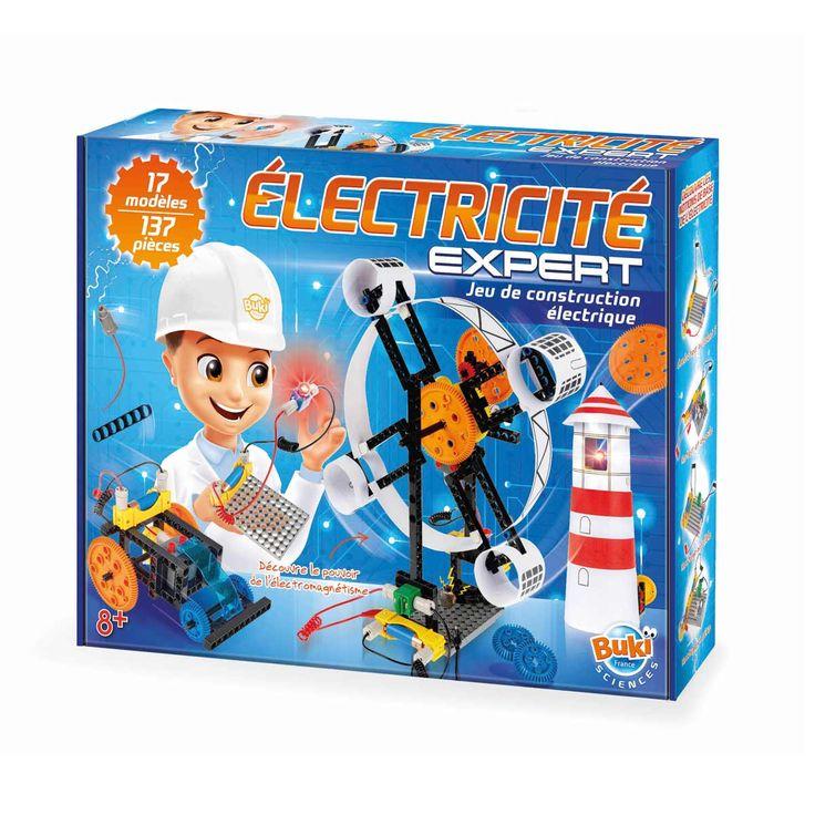 Grâce au coffret Électricité Expert, l'enfant apprend les bases de l'électricité. Il suit attentivement la notice explicative et réalise 10 modèles avec plus de 130 pièces. Comme un phare, un hélicoptère ou une grande roue. Il réalise également des expériences avec les douilles et les fils conducteurs.