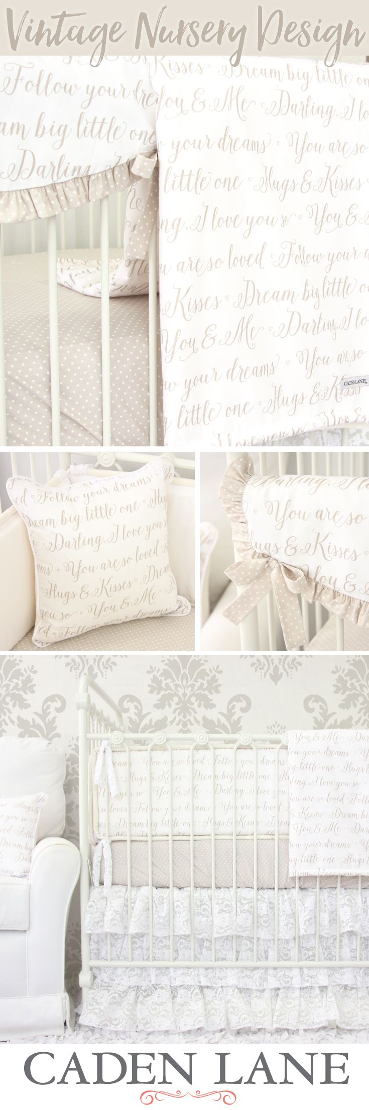 Create your perfect vintage nursery with this vintage inspired crib bedding.  A few of our favorite sayings create a unique look and the neutral tones make this bedding great for adapting to any style vintage nursery design.
