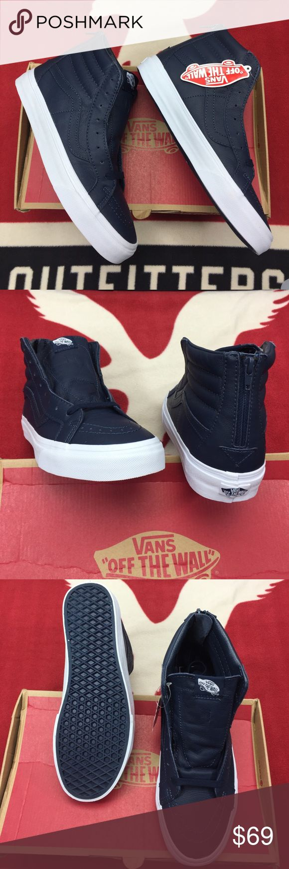 Vans Sk8-Hi Reissue Zip Premium Leather Dress Blue Vans Sk8-Hi Zip. the legendary lace-up high top, features sturdy uppers, re-enforced toecaps to withstand repeated wear, padded collars for support and flexibility, and signature rubber waffle outsole Vans Shoes Sneakers