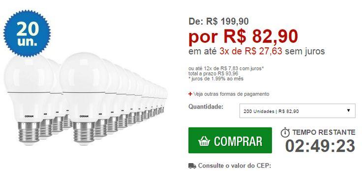 Kit com 20 Lâmpadas de LED Osram Classic A60 Bivolt 9W/830 E27 Amarela - << R$ 8290 em 3 vezes >>