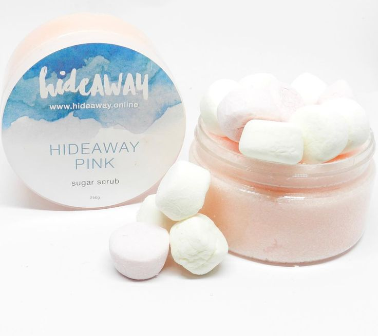 HIDEAWAY PINK SUGAR SCRUB.....The enticing fragrance of HideAWAY Pink with fluffy marshmallow notes of Musk, Vanilla and Jasmine will make you simply irresistible. This scrub is super exfoliating to brighten and polish your skin.
