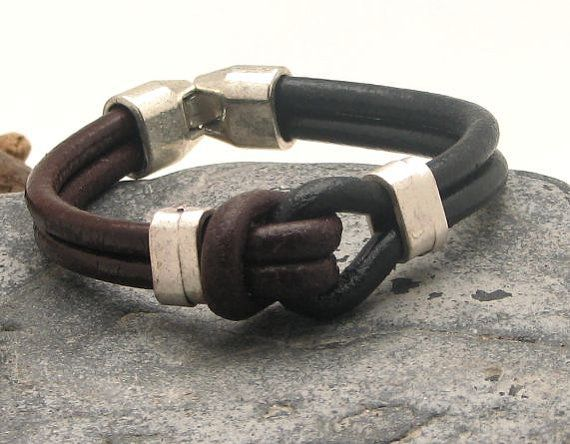FREE SHIPPING Men's leather bracelet Brown and black leather marine knot bracelet with silver plated spacers and clasp