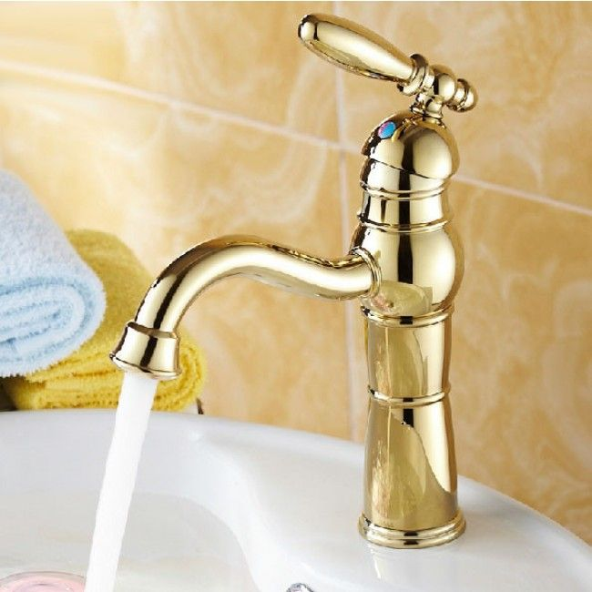 Single Lever Deck Mount Bathroom Sink Faucet In Gold Faucet