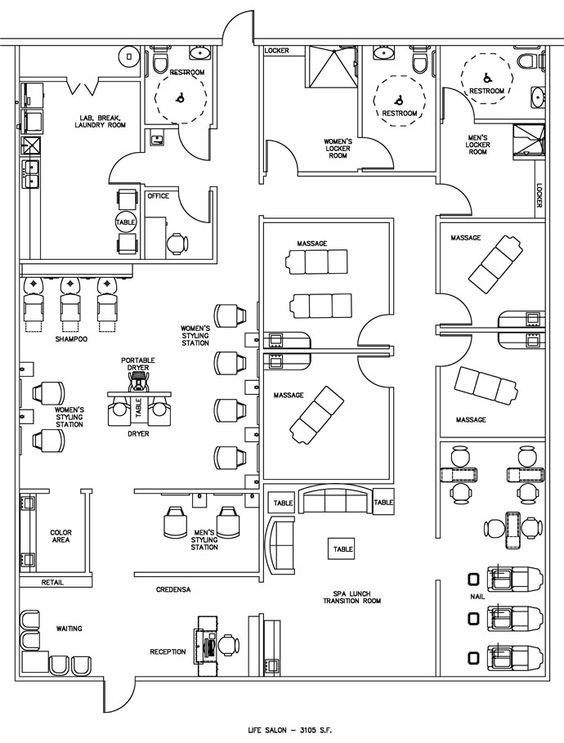 Esthetics Facial Spalayouts Floor Plans | Salon & Spa Floor Plan Design Layout - 3105 Square Feet:
