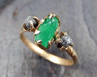 Three raw Stone Diamond Emerald Engagement Ring 14k Gold Wedding Ring Uncut Birthstone Stacking Ring Rough Diamond Ring byAngeline
