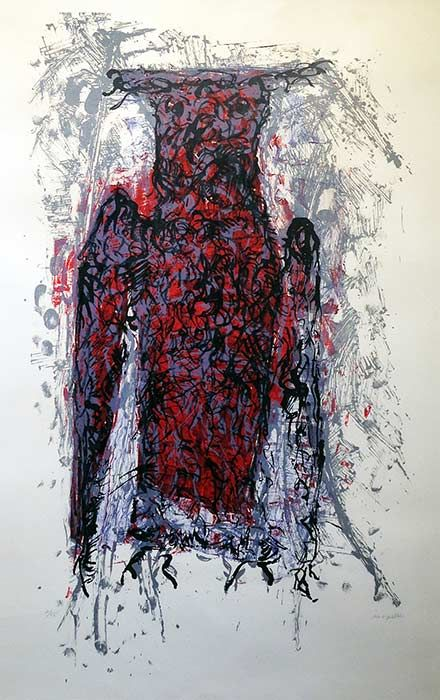 "Jean Paul Riopelle, Hibou II,  Lithographie, 30"" x 21"""