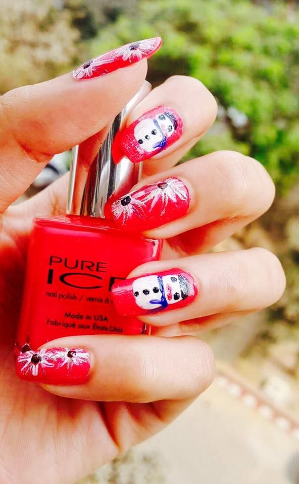 cute red christmas nail art
