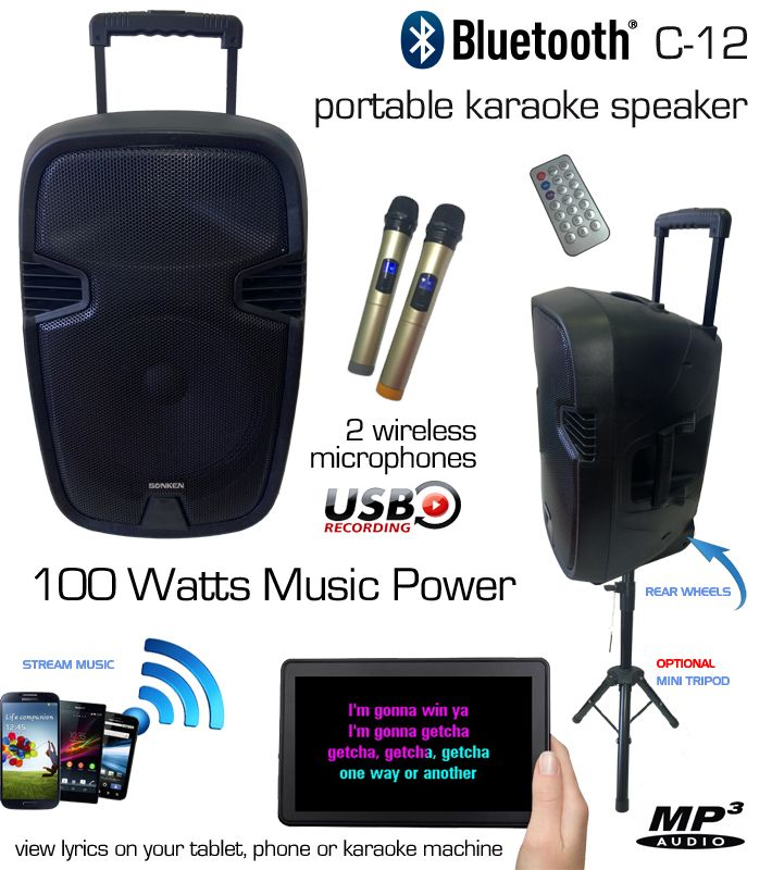 C-12 Powered Karaoke Speaker with 2 Wireless Microphones, Battery Powered, Great for Karaoke Apps or YouTube Sing-Along