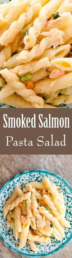 EASY pasta salad! With smoked salmon, bell peppers, celery, and green onions. Great for a gathering! On SimplyRecipes.com