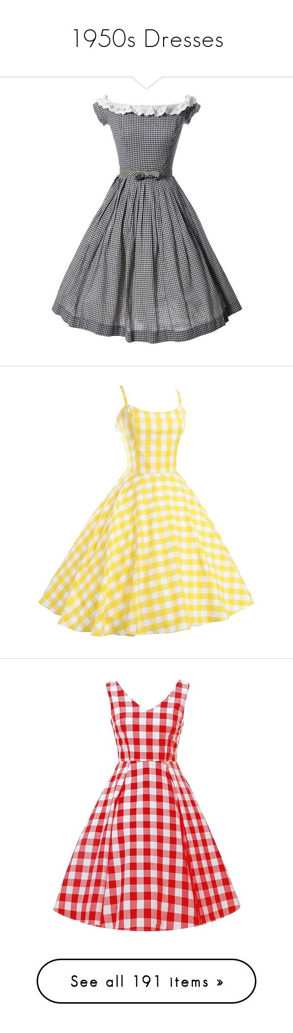 """1950s Dresses"" by mickjaggerismydrug ❤ liked on Polyvore featuring dresses, bow dress, black and white bow dress, white black dress, black and white dress, vintage gingham dress, yellow vintage dress, rockabilly dresses, vintage rockabilly dresses and yellow cocktail dress"