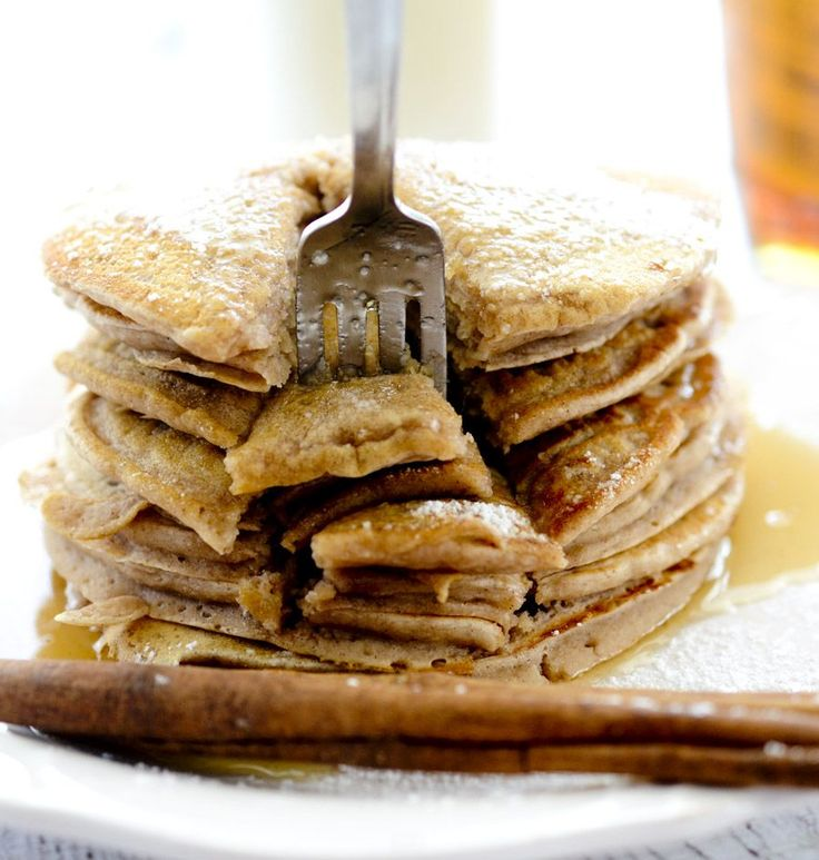Cinnamon Applesauce Pancakes – Recipe Diaries [only 89 calories per pancake. Recipe uses ½ cup of cinnamon applesauce per 2 cups of flour and no butter]
