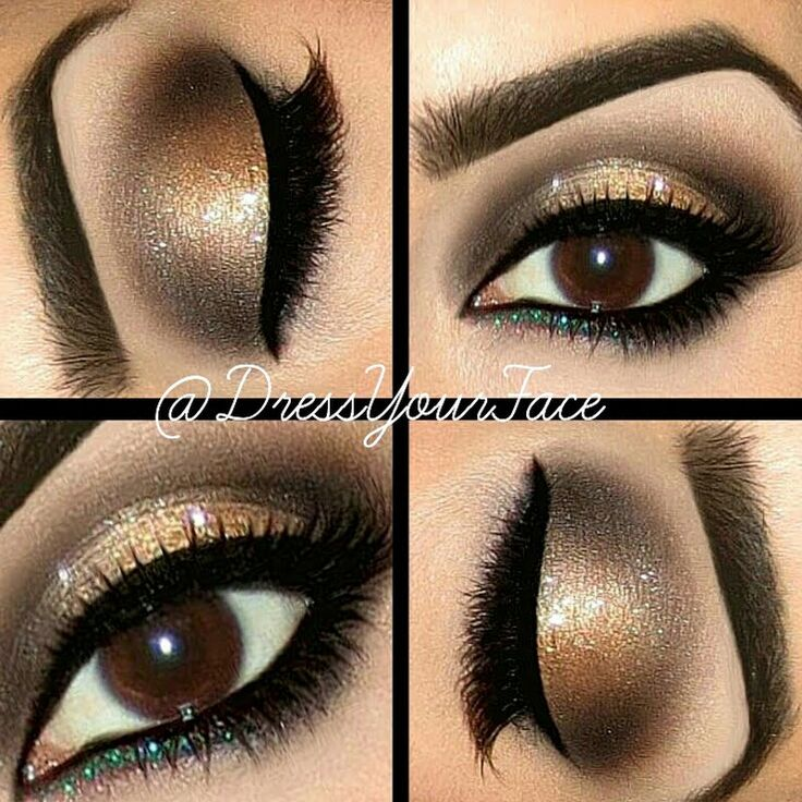 Dazzle everyone on New Years with this glitzy Holiday smokey eye! The gold and green sparkle will make your eyes stand out.