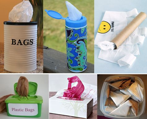 creative ways to store plastic bags... not sure I have the patience to do any of these.  but I like em'!
