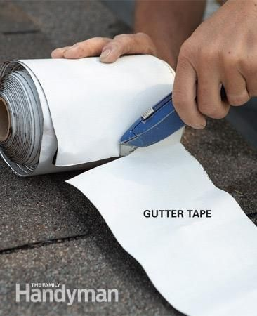 Gutter Repair: Cut off a section of the tape. Read more: http://www.familyhandyman.com/roof/gutter-repair/gutter-repair-fix-leaky-metal-gutters/view-all