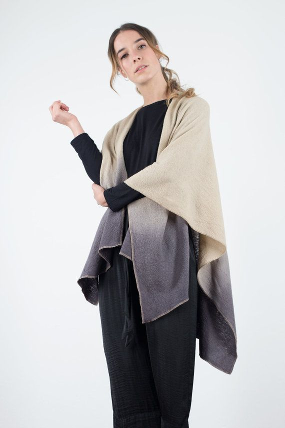 Beige kimono cardigan Poncho cape Ruana Wrap Plus by texturable