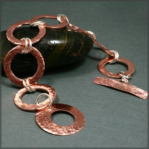 Lighter in weight than a bangle. Attach copper chains as previous earrings post, for a bib necklace