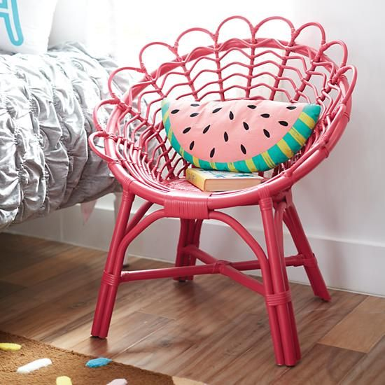 Pink Antoinette Rattan Kids Play Chair The Land Of Nod