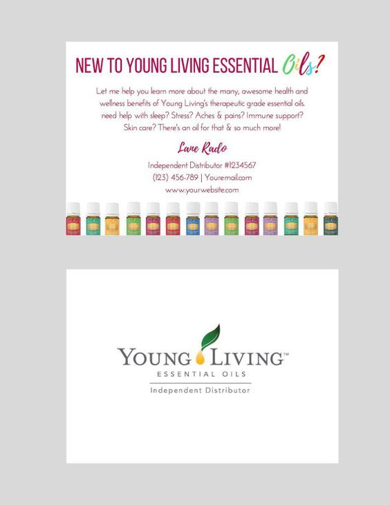 Personalized information cards for Young Living Independent Distributors! Keep these on hand to give to friends and family or leave them for people to grab at your local gym, spa, salon or coffee shop! • This listing is for a personalized DIGITAL PDF FILE that you will receive via email within 1-3 business days. Nothing will be sent in the mail. • Created with a standard postcard size template ---------------------- HOW IT WORKS ---------------------- 1. Upon checkout, in the notes section…