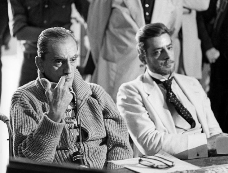 "Luchino Visconti  (& et Giancarlo Giannini sur le tournage de ""L'Innocente"")"