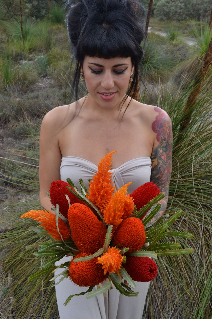 Native Bouquet of Banksia and Celosia.