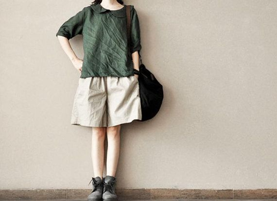 Spring Retro Cotton Shorts Have Pocket Loose by clothingshow