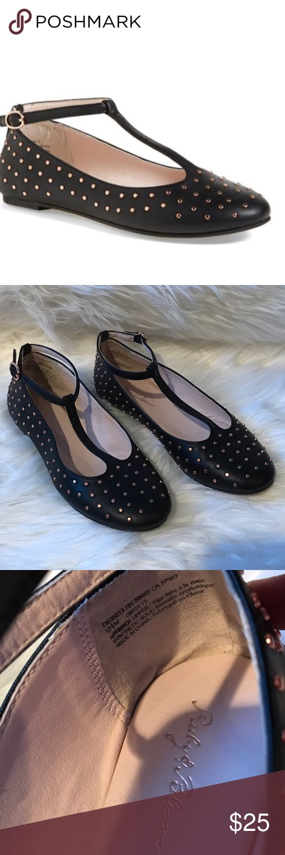 Ruby & Bloom T Strap Rose Gold Studded Flats Super cute and trendy little girl ballet flats! My daughter wore them once for 2 hours, and then grew out of them. They are in perfect condition! 🖤 ruby & bloom Shoes Dress Shoes