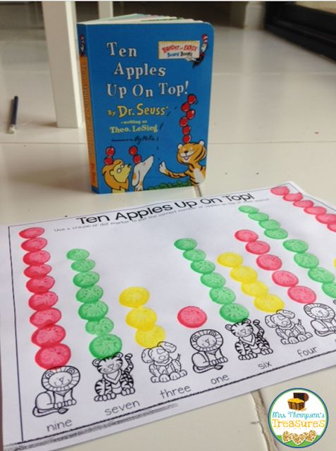 Ten Apples Up On Top - Number Words Free Activity  We love Ten Apples Up On Top as a way to practice reading number words! I created this fun little activity that can also be an assessment to see how well your students know their number words!    My kids love doing any activity that involves dot markers but this page can also be done with crayons regular markers or even manipulatives like bingo chips!    Visit my blog HERE to get this free activity!      apples counting 1 to 10 dot markers…