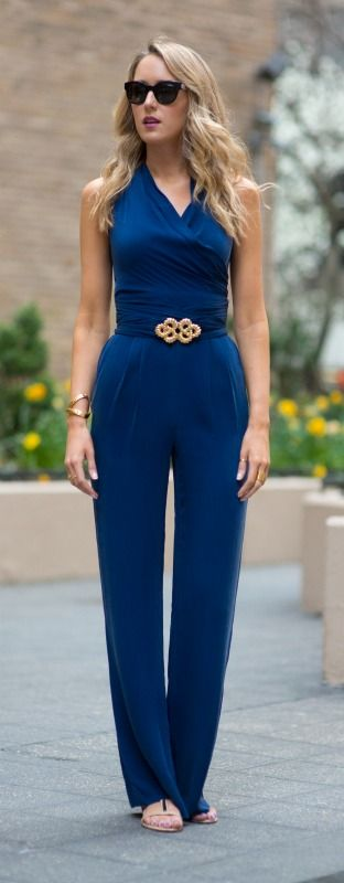 office wear: how to wear a jumpsuit to work {navy wrap front silk sleeveless jumpsuit}