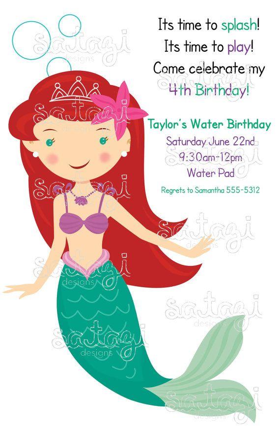 Little Mermaid Birthday Invitation Cute Idea