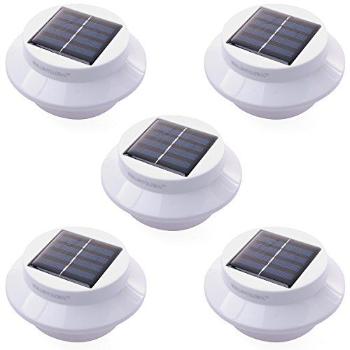 5 pack 3 led solar powered energy saving fence gutter light outdoor garden wall lobby pathway
