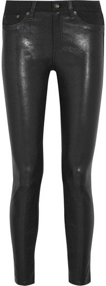 Rag & bone - Hyde Cropped Leather And Stretch-denim Skinny Pants - Black