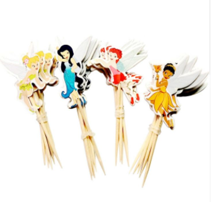 48pcs/lot New Tinkerbell Cartoon Cupcake Cake Toppers Party Birthday Children  #Unbranded #Party