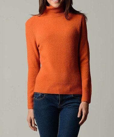 Loving this Orange Turtleneck Sweater - Women on #zulily! #zulilyfinds