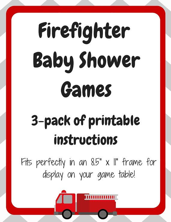 3 Pack Printable Of Firefighter Baby Shower Games
