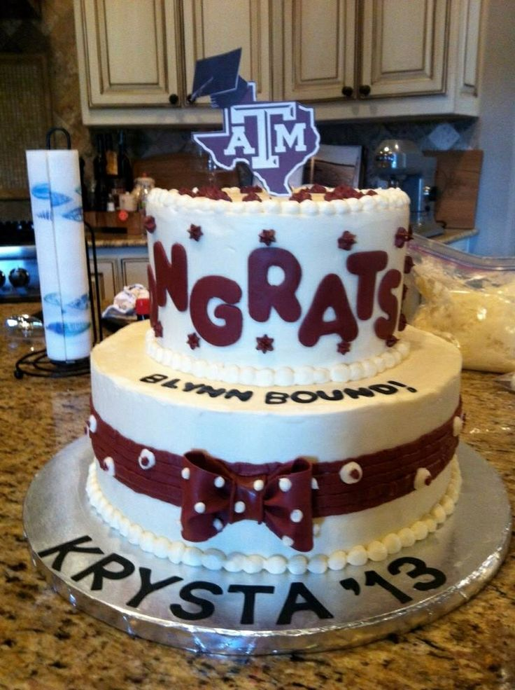 Two tiered Graduation cake with Buttercream Icing and Fondant Decals