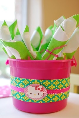 Hello Kitty Party. Decorative bucket/basket with Hello Kitty and place silverware in it.