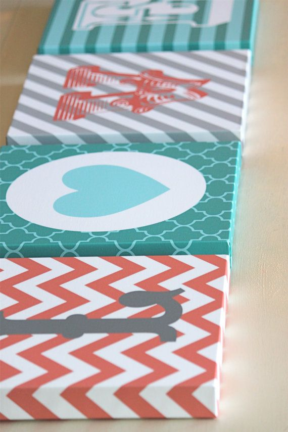 L-O-V-E square canvas letters, 12x12. Chevron, Heart, Quatrefoil, Stripes. Coral, Grey, Teal, Aqua & White.