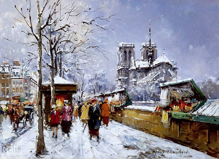 """""""Booksellers Notre Dame, Winter"""" by Antoine Blanchard (unknown)"""