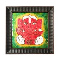 Decorative Wall Pieces,Made In India,Copper Enamel Ganesha Wall Piece