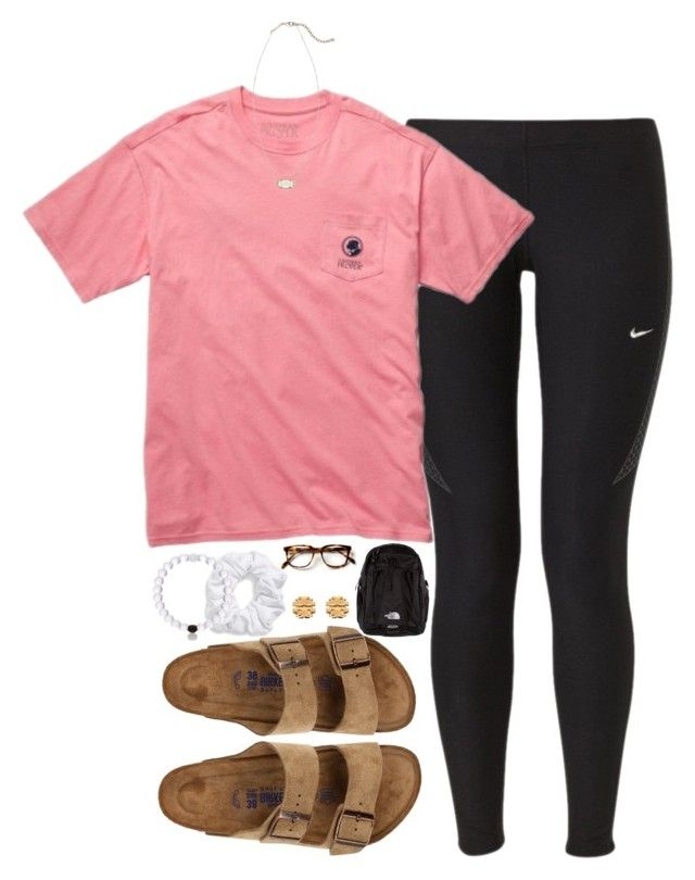 """""""school prep"""" by tabooty ❤ liked on Polyvore featuring mode, NIKE, Natasha Couture, Birkenstock, The North Face, Tory Burch en Kendra Scott"""